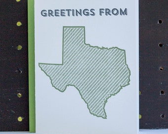 Greetings from Texas. Letterpress Greeting Card