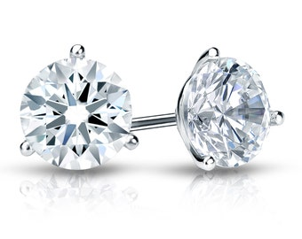 14k White Gold 3-Prong Martini Hearts & Arrows Diamond Stud Earrings 1.00 ct. tw. (F-G, SI1)