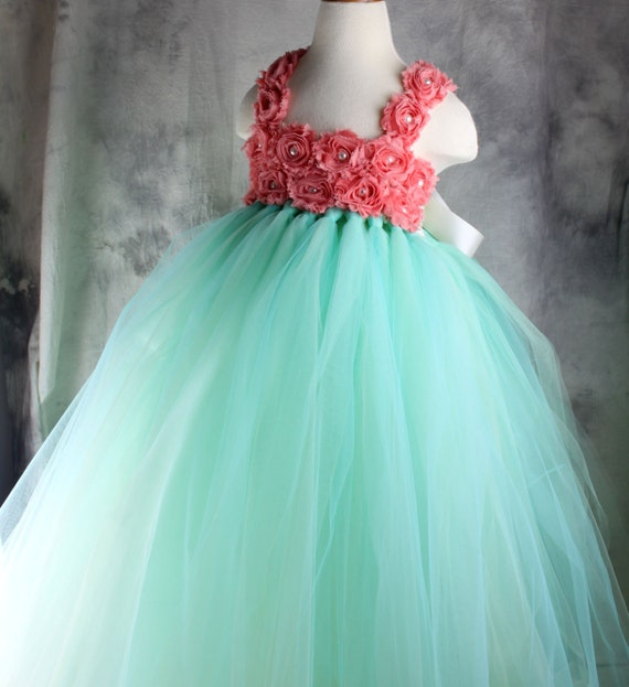 Items Similar To Mint Green Coral Flower Girl Dress Tutu