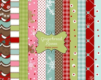 Christmas Digital Papers, Scrapbooking, Card Making - INSTANT DOWNLOAD  Gingerbread, gingerbread house -  PU and Ltd. Commercial Use