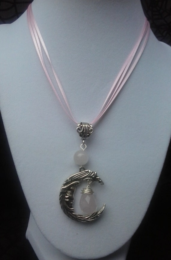 Maiden Moon Aspect with Two Rose Quartz  Necklace