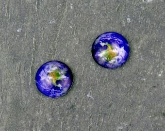12mm Planet Earth Blue World Handmade Photo Glass Cabochon GD32(10pcs)