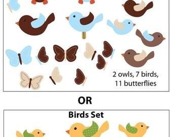 Owl Wall Decals, Bird Decals, Butterflies, Reusable Owl Wall Stickers, Birds, Butterfly (Owls,Birds,Butterflies) BBFO