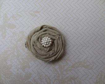 Beige Rolled Fabric Flower Hair Clip