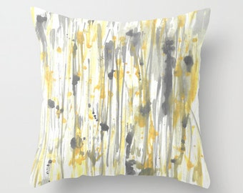 Toss Pillow Cover Throw Pillow Cover Yellow Pillow Cover Grey Pillow Cover Accent Pillow Cover Watercolor Pillow Cover Home Decor