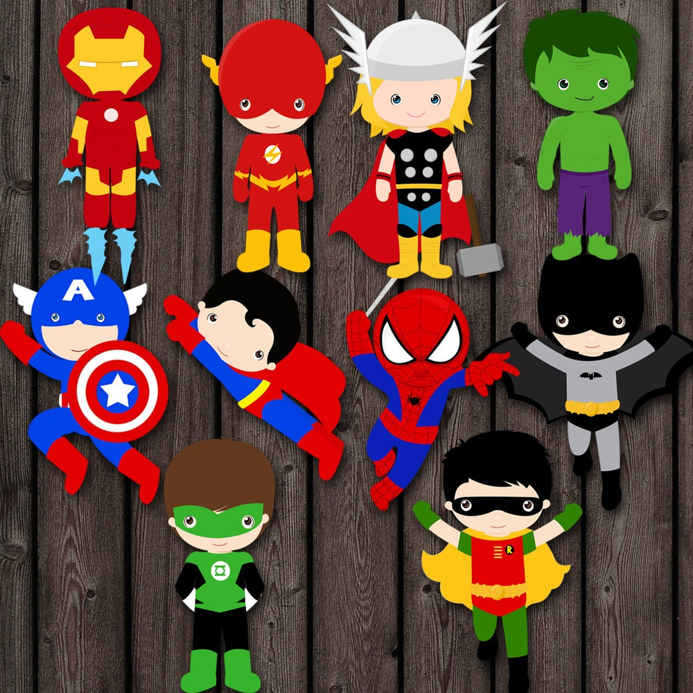 Instant Download Superhero Cake Toppers PDF 2 Sizes Table