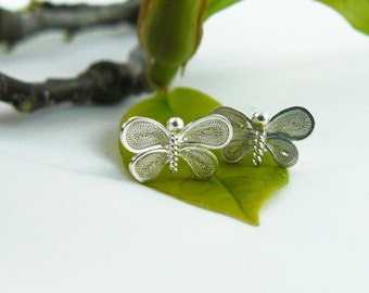 handmade silver filigree butterflies earrings, small stud earrings