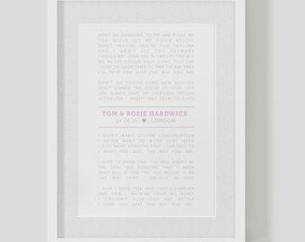 Personalised Wedding Lyrics Print / Poster — First Dance — custom lyrics wedding present
