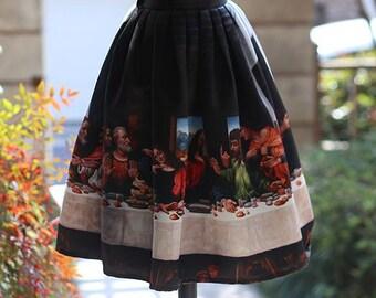 Fine Art Collection vintage style black Leonardo da Vinci Last Supper theme skirt