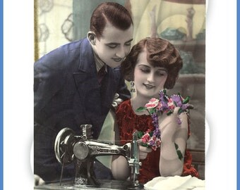 Digital Image of 1920's Man and Woman at a Sewing Machine