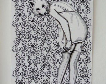 Original ink and stitch drawing of a 'foxy lady'.