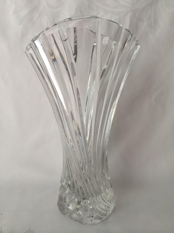 Mikasa Art Deco Vase Lead Crystal Swirl Pattern Elegant