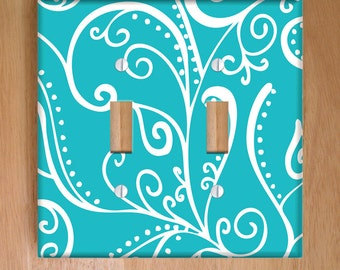 Silent Era, Turquoise Vinyl Double Light Switch Cover, Outlet Cover, Wallplate, Home Decor, Swirls, Nautical, Turquoise and White, Aqua