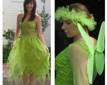 New Adult  Tinkerbell Fairy  Dress ~  Halloween Costume ~Tulle  Headpiece ~ Wings ~ Theatre ~ Bridal ~ Theatre