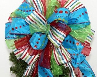 "13"" Blue Glitter Dot Stripe Red Christmas Tree Bow Topper  - Christmas Tree Bow, Tree Topper, Large Christmas Bow, Bow Tree Topper"