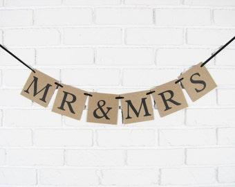 Mr and Mrs banner, bridal shower banner, bride and groom banner, bride & groom sign, photo prop, wedding decorations, wedding banner