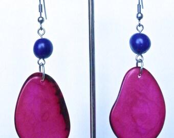 Tagua and Acai nut earrings, Bright pink and purple, sliced tagua nut earrings