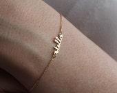 Tiny Name Bracelet, 14K Gold Name Bracelet, Birthstone Bracelet, Small name Bracelet, Personalized Name Bracelet