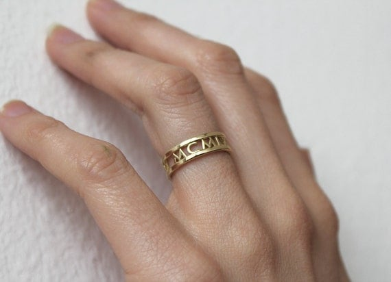 14k Gold Wedding Band Roman Numerals Ring Date Ring