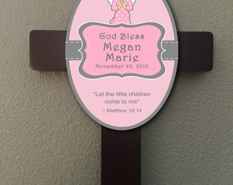 Personalized Christian Cross With Bible Verse - Girl Baptism Gift