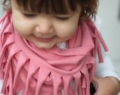 ADORABLE Toddler Baby Fringe Infinity Scarf Jersey Knit Cotton Light Pink Gift Rich Girl Rags Co Kid Girl Boho Hippie Cute Boy Brother
