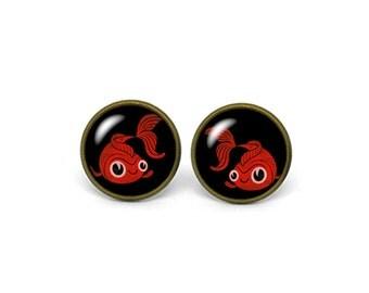 X260- Goldfish, Glass Dome Post Earrings