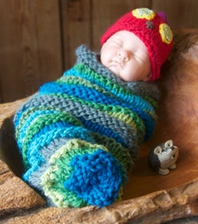 Hand Knitted Baby Cuddle Cocoon And Hat Hungry Caterpillar