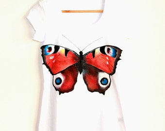 Butterfly handpainted woman t-shirt  colorful summer clothing unique gift