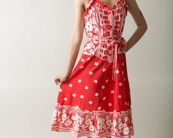 Pin up Red cotton summer dress / Sleeve lesss Red floral print summer dress / Belted dress / Ruffle dress