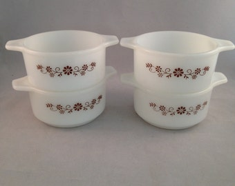 Vintage Pyr-O-Rey Small Individual Casserole Dishes Set of 4 Brown Floral