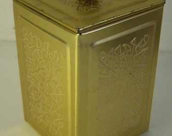 Atomic Age gold tone tin box with abstract relief pattern  Jacobs Kaffee