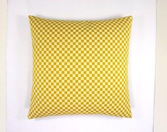 "Checker by Alexander Girard, 1957. Gold / Cream. Maharam Fabric. 17"" x 17"" pillow with feather insert."