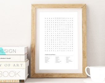 Find-A-Word, Places of Australia - Modern Type Print / Art / Typography / Type Poster / Inspirational / Black & white / travel print / City