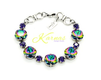 ELECTRA DREAM 12mm/6mm Cushion Cut Crystal Bracelet Made With Swarovski Elements *Pick Your Finish *Karnas Design Studio *Free Shipping*