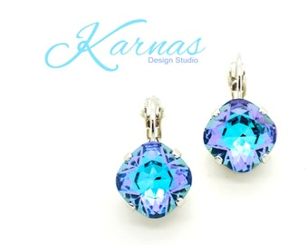 AQUA SHIMMER 12MM Crystal Cushion Cut Drop Earrings Made With Swarovski Elements *Pick Your Finish *Karnas Design Studio *Free Shipping*