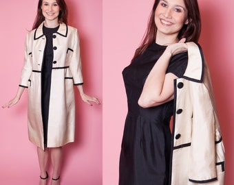 1960's Mam'selle Two Piece Silk Dress with Contrasting Black Trim Jacket