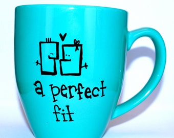 Hand Drawn A Perfect Fit Couples Mug (Customizable)