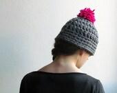 Grey pom pom hat / YETI / Chunky beanie with a neon pom pom / Winter hot pink pom pom beanie