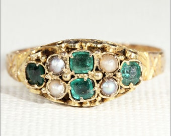 Antique Victorian Emerald and Pearl Ring, 15k Gold, Birmingham 1871