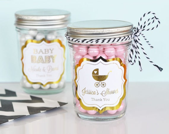 items similar to pink and gold baby shower mason jar favors pink, Baby shower invitation