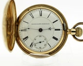 18K Gold Elgin Key Stem Engraved Pocket Watch 1873
