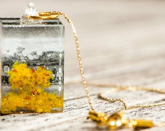 Fall Tree Resin Pendant Necklace #1