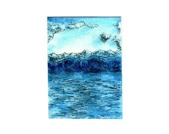 "Aceo Original watercolor ""Moonlight mountain lake""Original watercolor monochrome,Ink and Drawing, NOT a Print , Art Miniature. Artistic Aceo"
