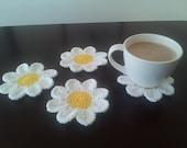 Crochet Daisy Coaster Set