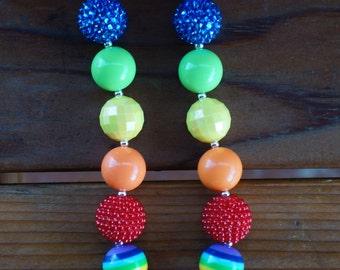 Rainbow Chunky Bubblegum Bead Necklace
