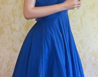 40's Royal Blue Cotton Rockabilly Swing Dress w/ Pin Tucks - Large Size