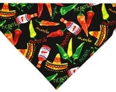Hot sauce and chili peppers dog bandana slides over the collar