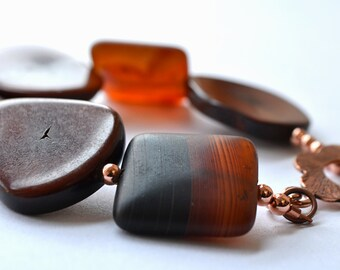 Red agate and tagua nut bracelet