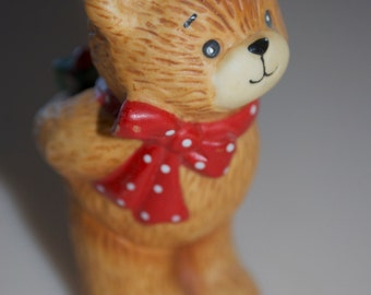 Lucy Rigg Enesco Teddy Bear with Christmas Present Figurine 1980's Lucy and Me 3""
