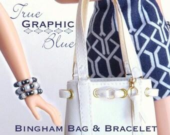 """Sewing pattern for 11 1/2"""" doll (Barbie): Bingham Bag & Bracelet"""